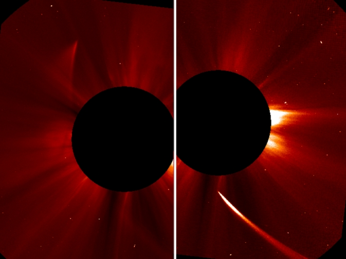 A bright ISON goes into the sun, a dim ISON comes out.