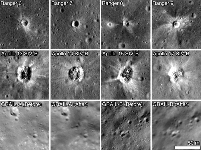 A selection of spacecraft impact sites imaged by LROC
