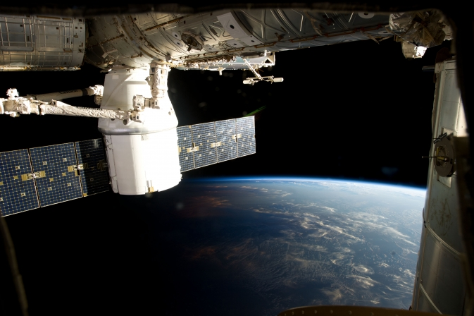 Photo taken by the Expedition 34 crew aboard the International Space Station during the March 3, 2013 approach, capture and docking of the SpaceX Dragon.