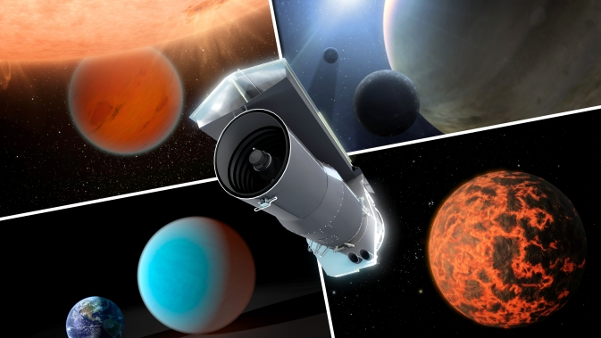 This artist's concept shows Spitzer surrounded by examples of exoplanets the telescope has examined