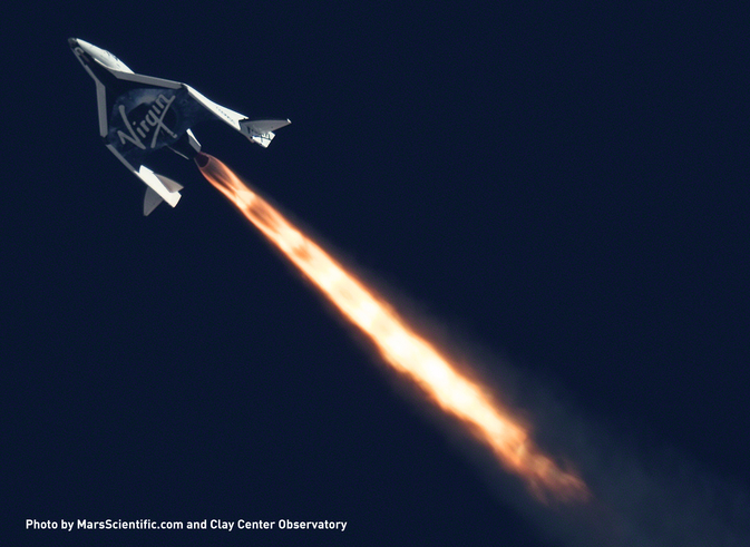Telescopic image of Virgin Galactic's SpaceShipTwo during a supersonic test flight in 2013.