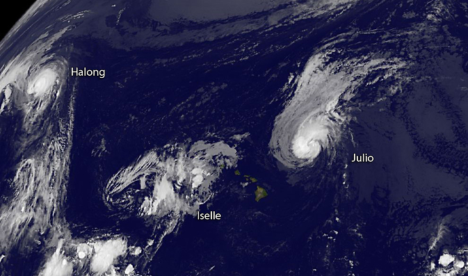 GOES-West image of the trio of storms in the Pacific