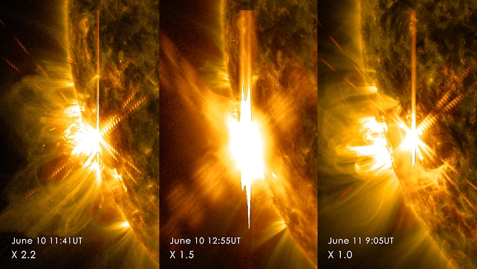 SDO images of three solar flares from June 10-11, 2014