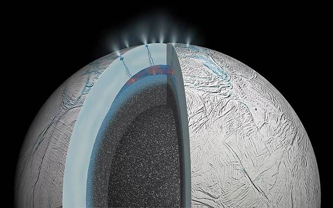 Cutaway view of Saturn's moon Enceladus