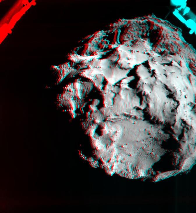 This 3D image shows what it would look like to fly over the surface of comet 67P/Churyumov-Gerasimenko