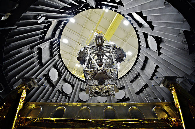 The Optical Telescope Element wrapped in a silver blanket