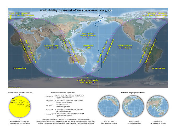 World map show visibility of transit of Venus on June 5-6, 2012.