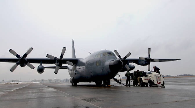 The C-130 aircraft getting readied for pressurization tests on March 16, 2015 at Wallops.