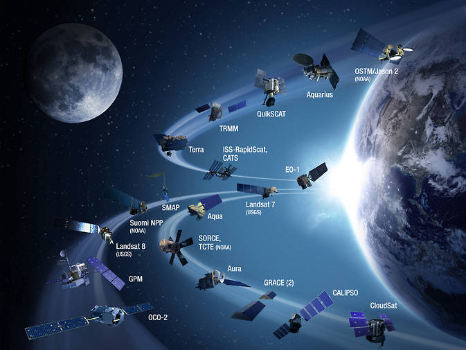 Artist's concept of Earth observing satellites in orbit