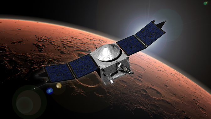Artist concept of NASA's Mars Atmosphere and Volatile EvolutioN (MAVEN) mission