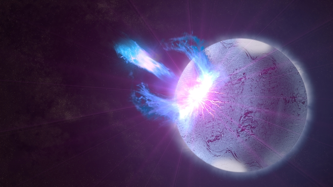 A rupture in the crust of a highly magnetized neutron star, shown here in an artist's rendering, can trigger high-energy eruptions. Fermi observations of these blasts include information on how the star's surface twists and vibrates, providing new insights into what lies beneath