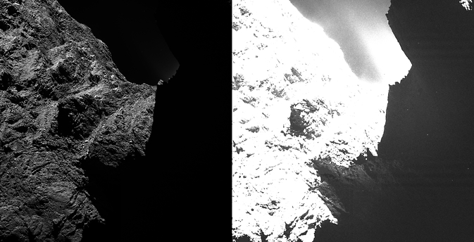 In this side-by-side view, an image of comet 67P/Churyumov-Gerasimenko obtained on October 30, 2014 by the OSIRIS scientific imaging system on the Rosetta spacecraft is displayed with two different saturation levels.