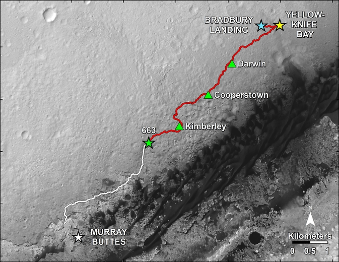 Map showing curiosity's progress in a year