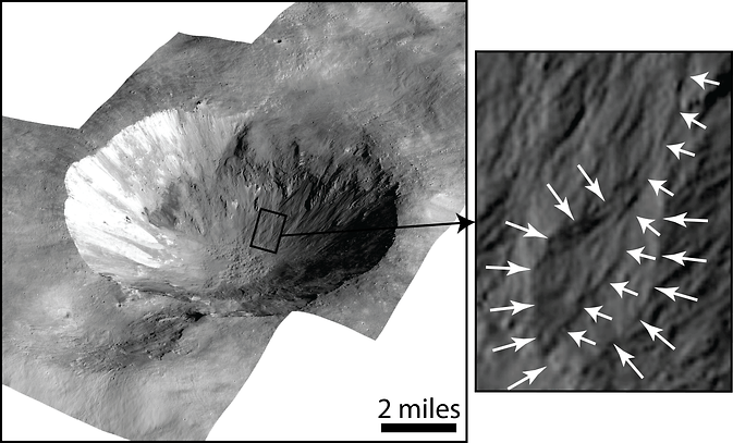 Kløfter i kratersider på asteroiden/dværgplaneten Vesta