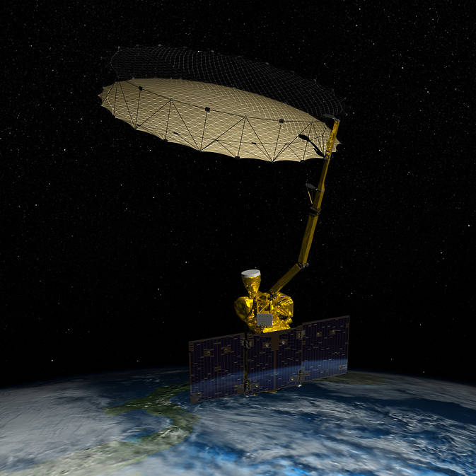 Artist's concept of NASA's Soil Moisture Active Passive (SMAP) mission