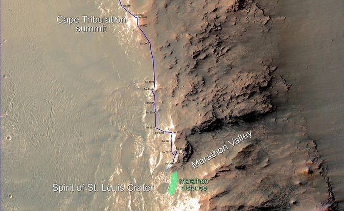 Rover's progress toward Mars Marathon