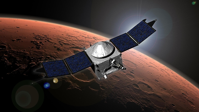 NASA's Mars Atmosphere and Volatile Evolution (MAVEN) spacecraft artist concept.