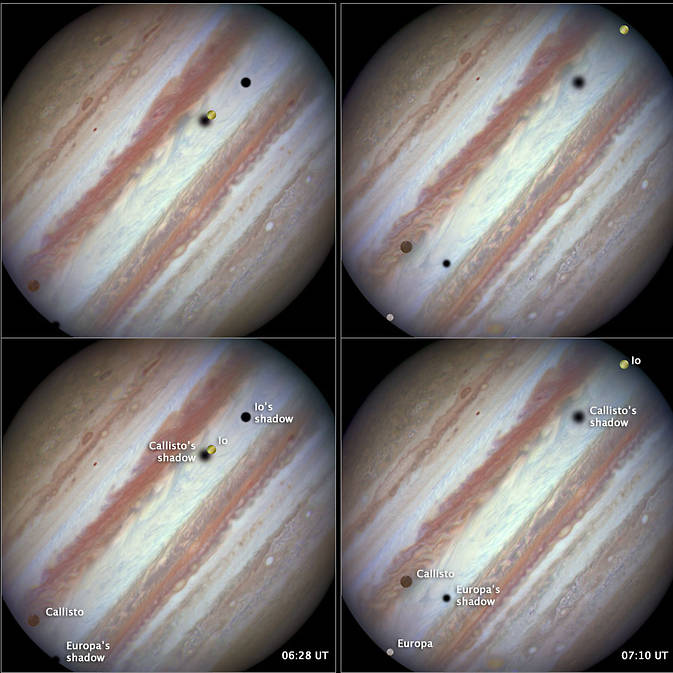 Rare occurrence of all three of Jupiter's moon's in Hubble image