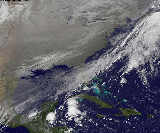 In this NOAA's GOES satellite infrared image taken on Nov. 18 at 7:30 a.m. EST, the cold air over the central and eastern U.S. appears to look like a blanket of white, but it's not all snow.