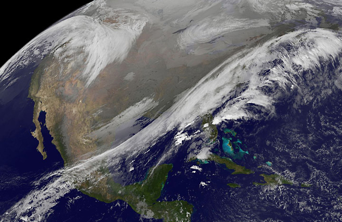GOES shows 2 weather systems on Nov.25, 2014.