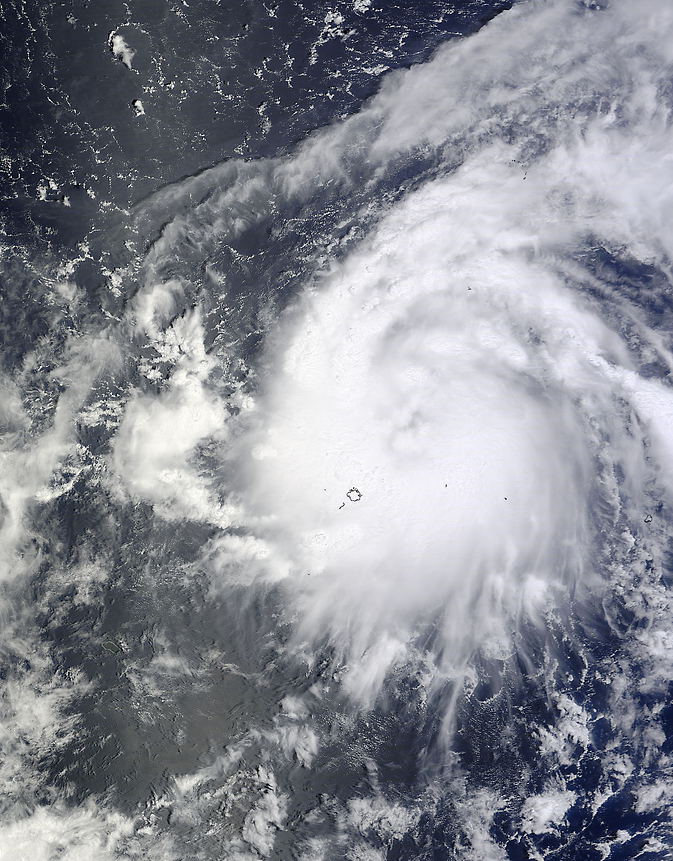 NASA's Terra satellite captured this visible image of Tropical Storm Vongfong in the western Pacific Ocean on Oct. 3 at 00:30 UTC.