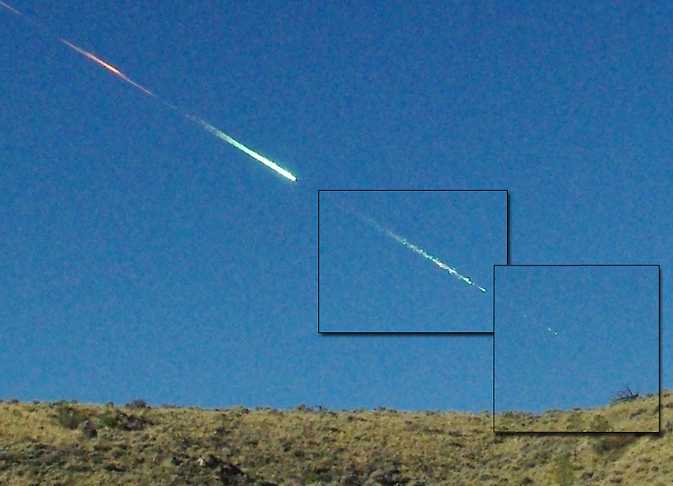 three photographs of the Sutter's Mill meteoroid
