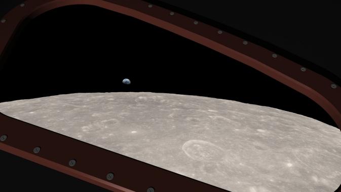 Earth rising over lunar horizon, seen from Apollo 8 spacecraft