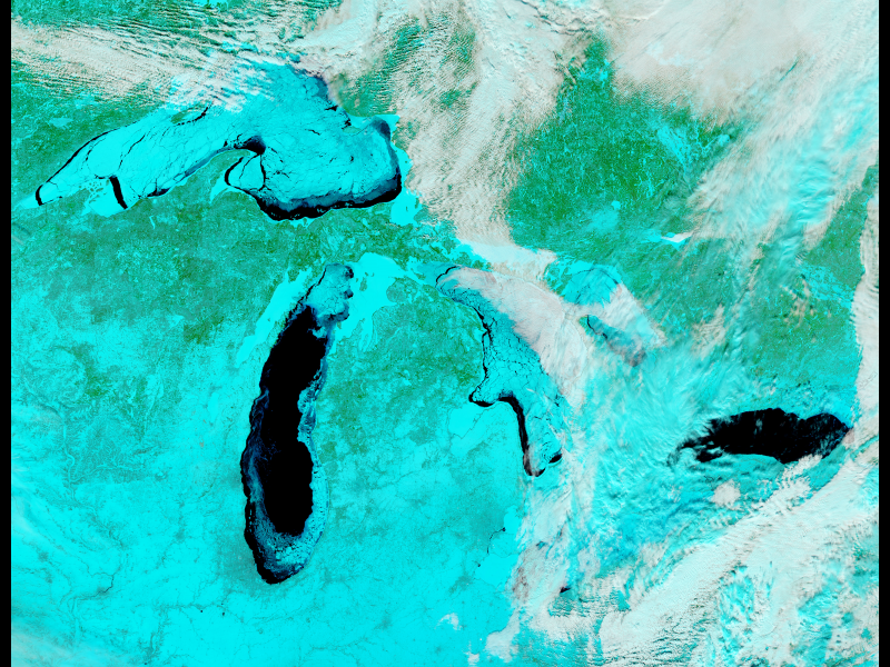 J And M Auto >> Ice on the Great Lakes in False Color Infrared | NASA