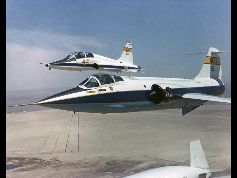 F-104 in Formation Flight with T-38 Chase Aircraft | NASA