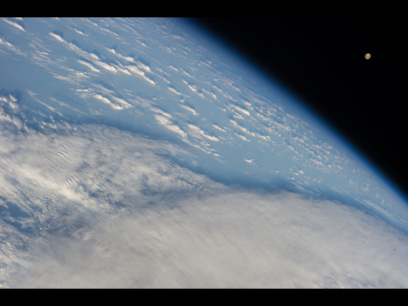 Earth's Horizon and Clouds Over the South Pacific Ocean   NASA