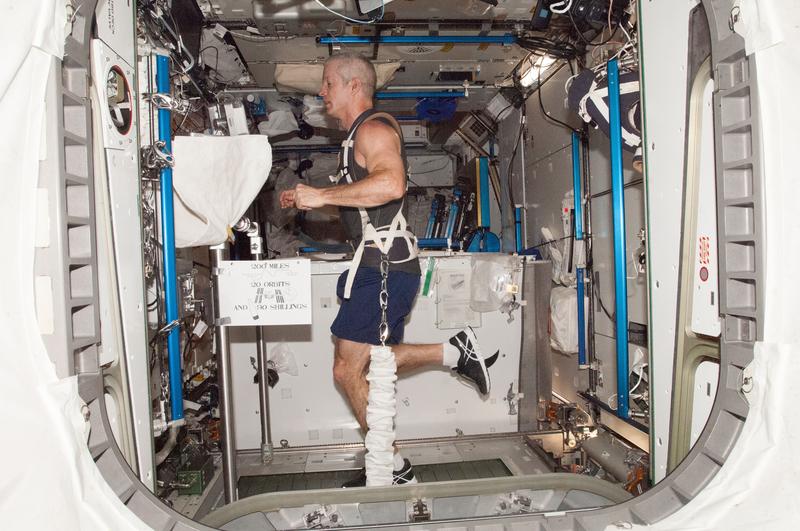 Exercising on the T2 treadmill   NASA