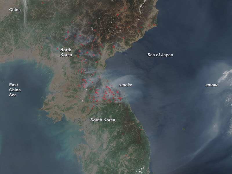 Smoke And Fires In North Korea April 2014 Nasa