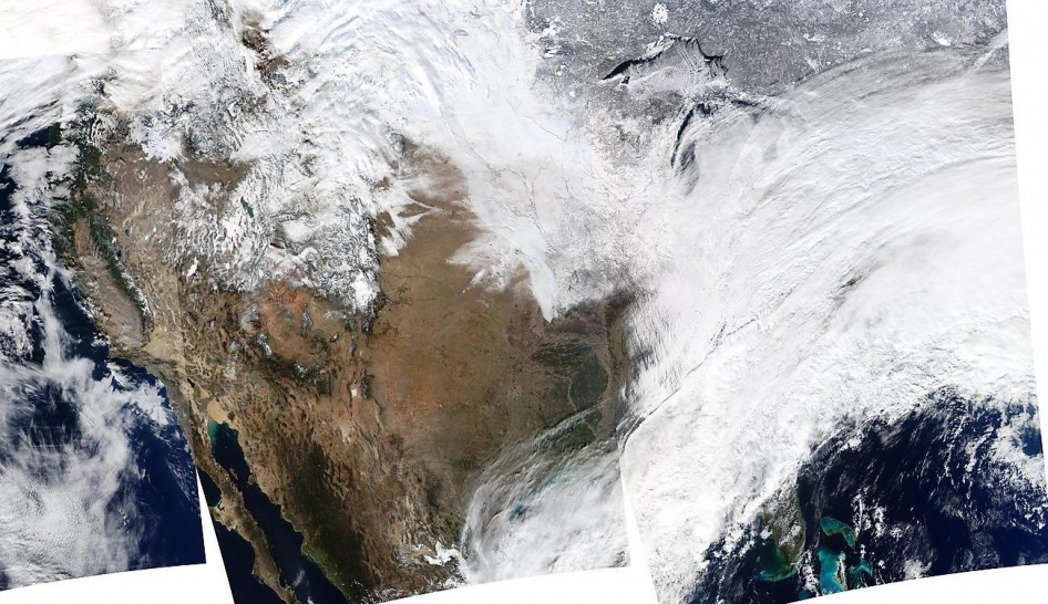 On January 2, 2014, NASA's Aqua satellite passed over the United States multiple times, allowing the Moderate Resolution Imaging Spectroradiometer (MODIS) on board to capture this true-color image of a massive winter storm moving up the eastern seaboard.