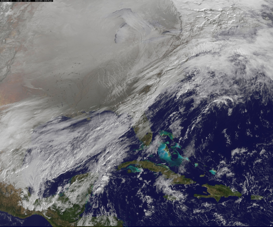 "Satellite image of ""polar vortex"" over continental U.S."
