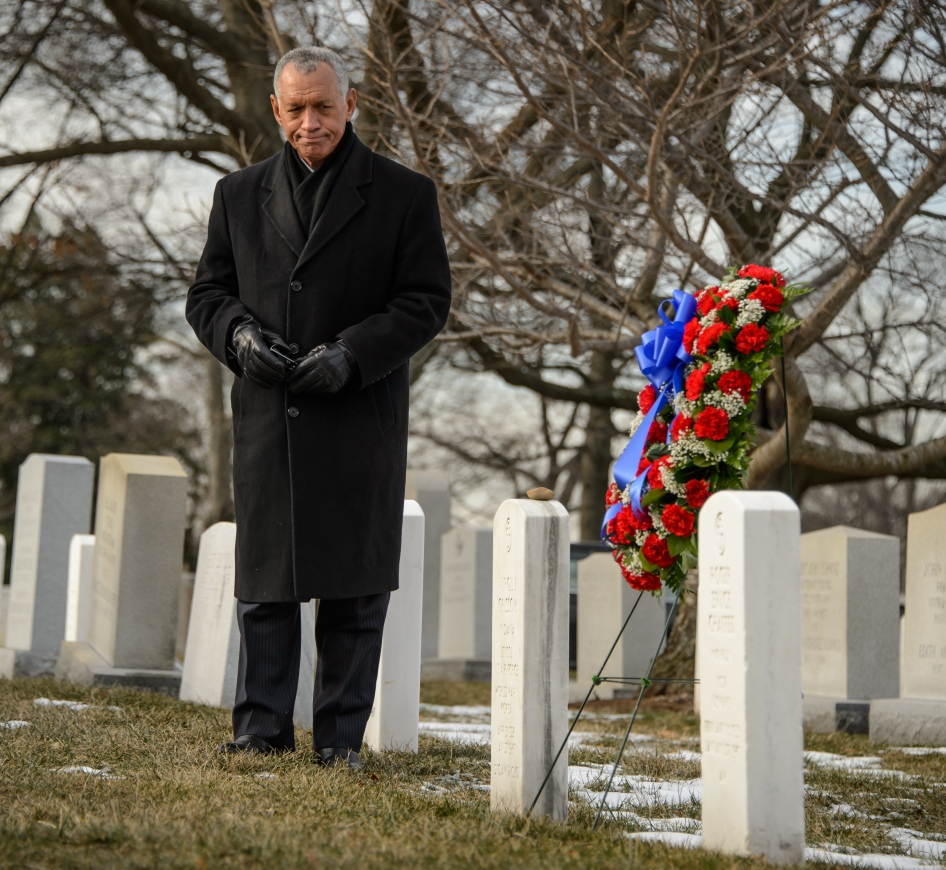 NASA Administrator Charles Bolden participates in a wreath laying ceremony as part of NASA's Day of Remembrance, Friday, Jan. 31, 2014, at Arlington National Cemetery.