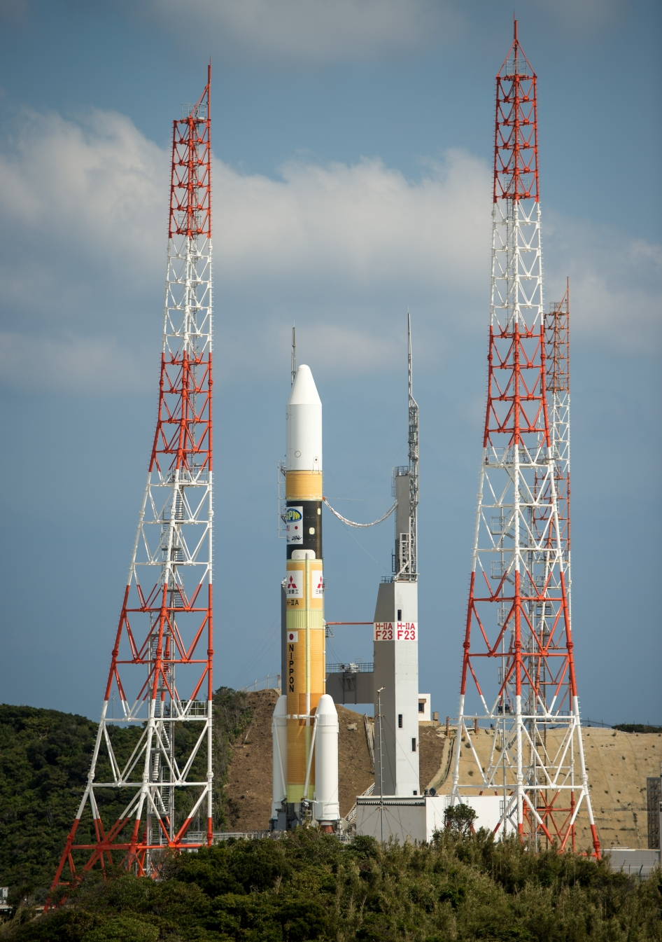 A Japanese H-IIA rocket carrying the NASA-Japan Aerospace Exploration Agency (JAXA) Global Precipitation Measurement (GPM) Core Observatory rolls out to launch pad 1 of the Tanegashima Space Center, Thursday, Feb. 27, 2014, Tanegashima, Japan.