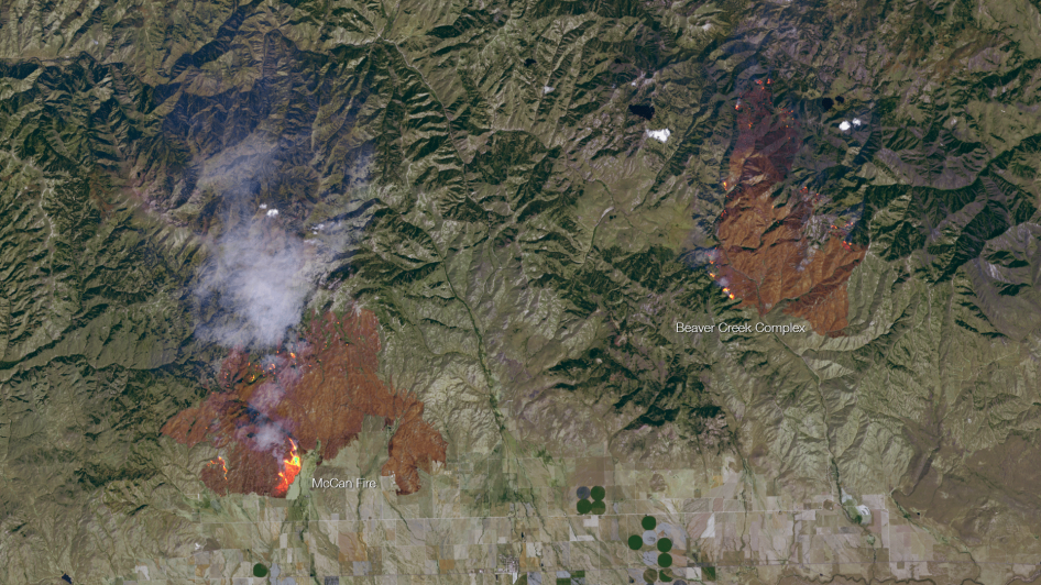 Detailed Satellite Imagery Of The Idaho Wildfires NASA - Detailed satellite imagery