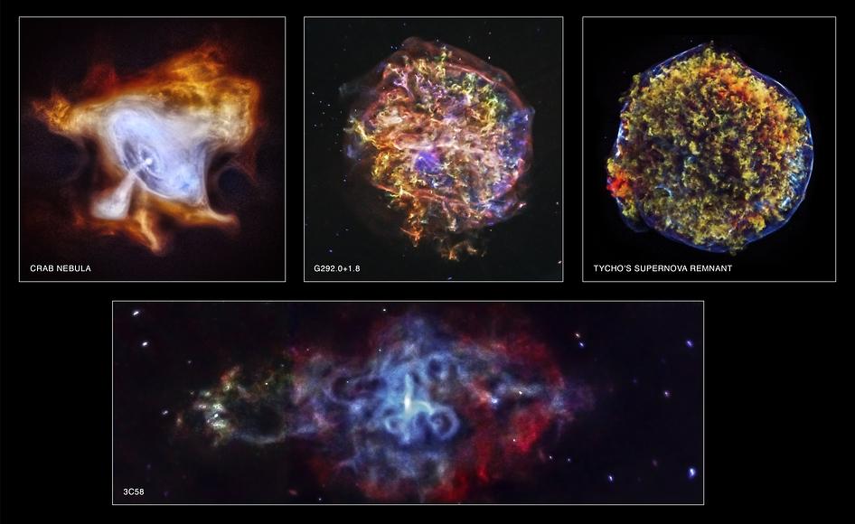 Con motivo del 15 aniversario, han sido publicadas cuatro nuevas imágenes procesadas captadas por el Chandra