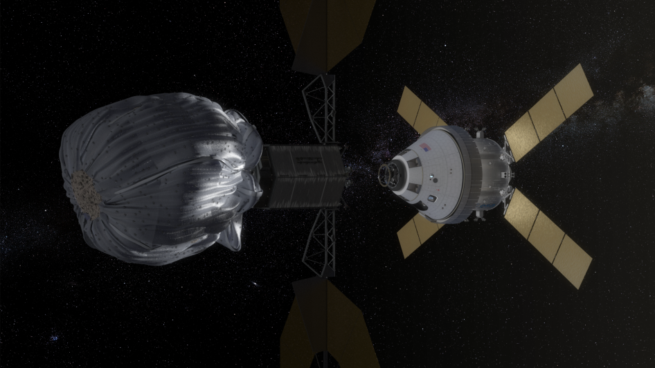 Concept image of Orion approaching the robotic asteroid capture vehicle.