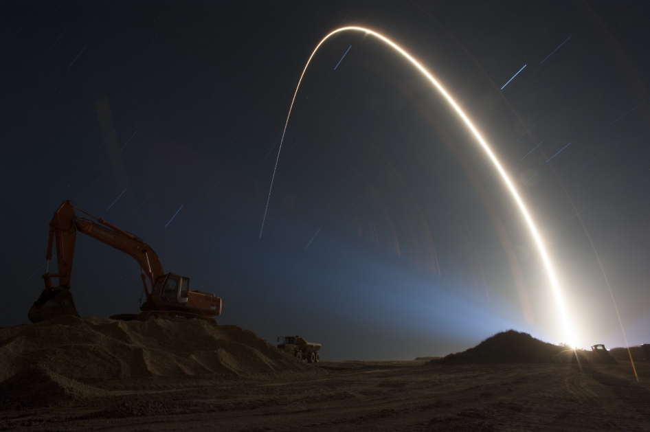 The Atlas V rocket carrying the TDRS-L spacecraft streaks across the night sky
