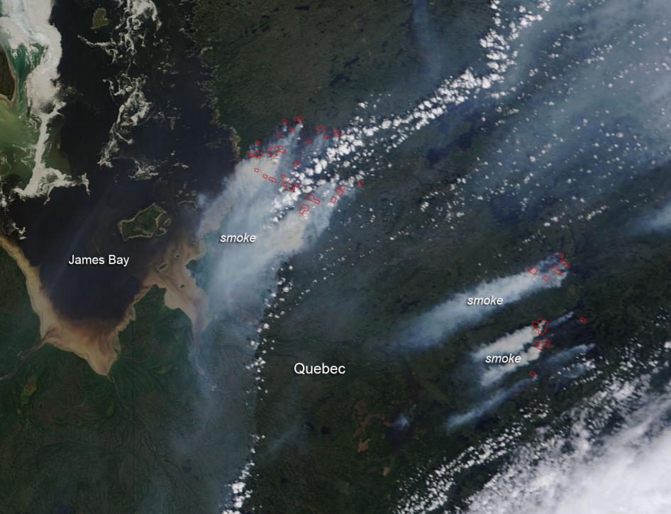 Forest fires in Quebec