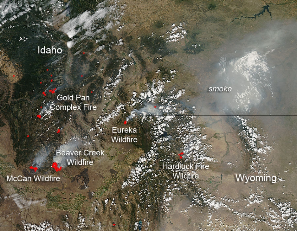 Fires in Idaho and Wyoming