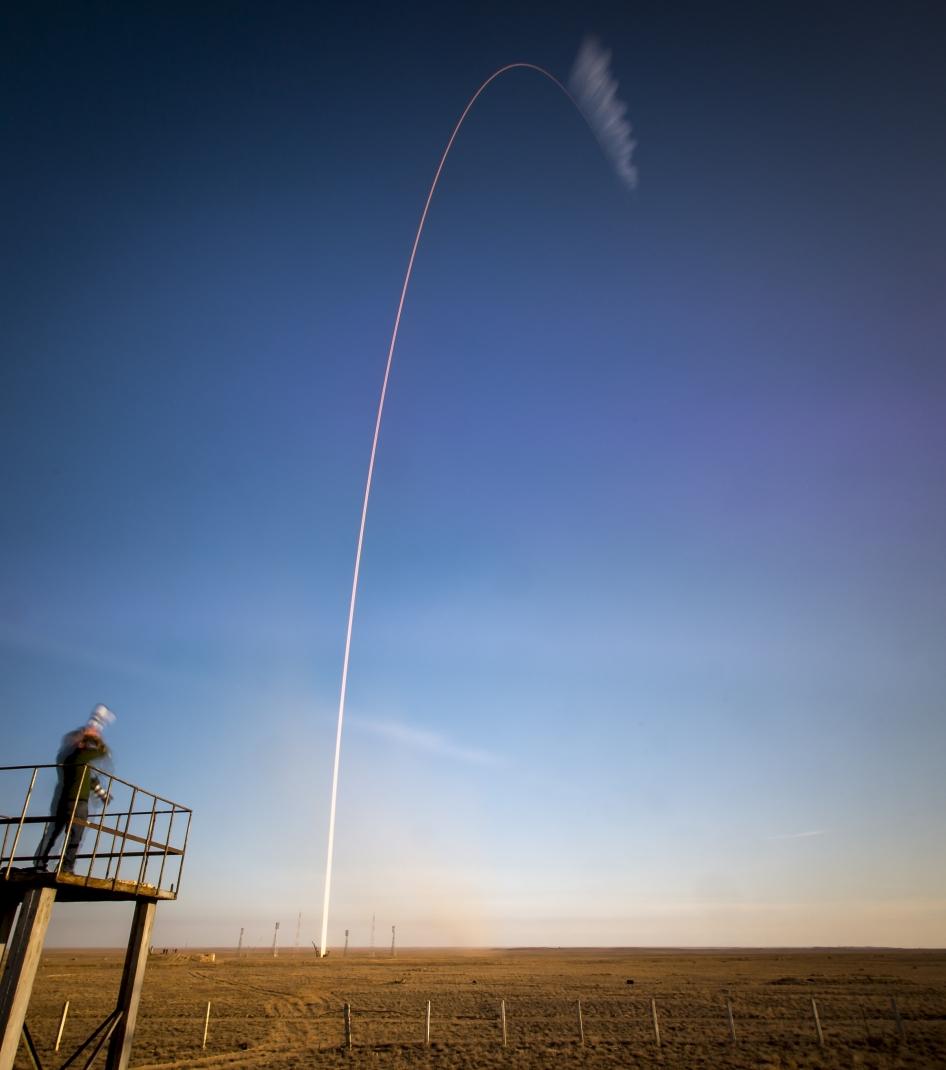 long exposure image of Soyuz launch. Credit: NASA/Bill Ingalls