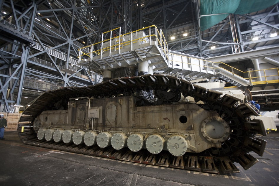Crawler-transporter 2, or CT-2, enters the Vehicle Assembly Building at NASA's Kennedy Space Center in Florida.