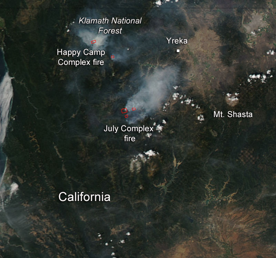 Happy Camp and July Complex Fires in California  NASA