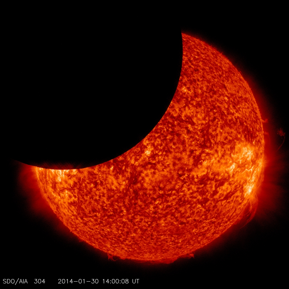 On Jan. 30, 2014, beginning at 8:31 a.m EST, the moon moved between NASA's Solar Dynamics Observatory, or SDO, and the sun, giving the observatory a view of a partial solar eclipse from space.