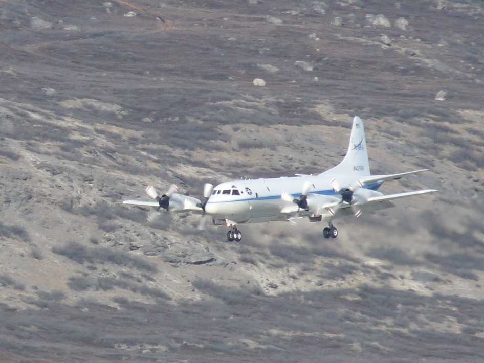 NASA's P-3B airborne laboratory coming in for a landing at the airport in Kangerlussuaq, Greenland.