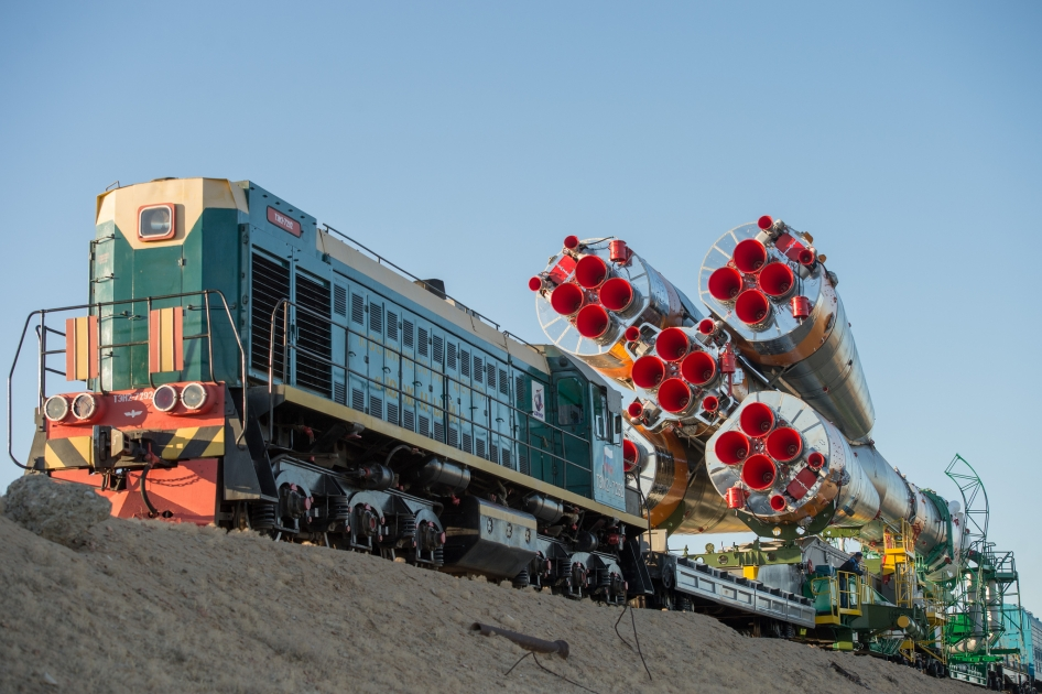 The Soyuz rocket is rolled out to the launch pad by train on Monday, Sept. 23, 2013, at the Baikonur Cosmodrome in Kazakhstan.