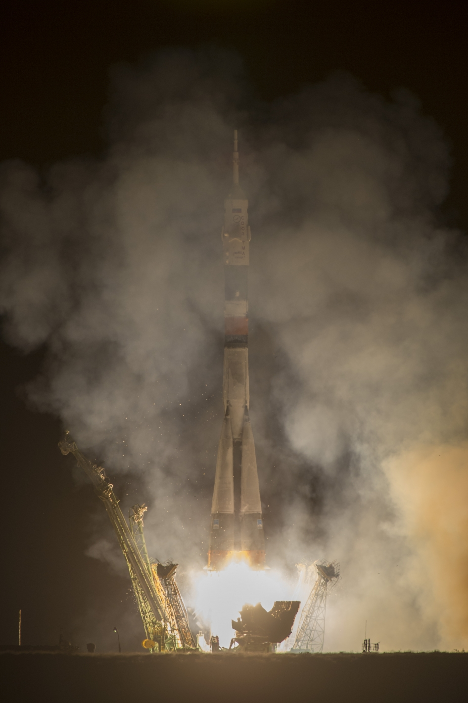 The Soyuz TMA-10M rocket launches from the Baikonur Cosmodrome in Kazakhstan on Thurs., Sept. 26, 2013 (Kazakh time) carrying Expedition 37 Soyuz Commander Oleg Kotov, NASA Flight Engineer Michael Hopkins and Russian Flight Engineer Sergey Ryazanskiy to the International Space Station.