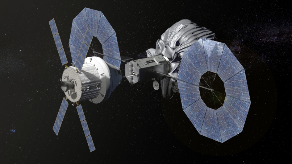Concept image of the Orion spacecraft approaching the robotic asteroid redirect vehicle